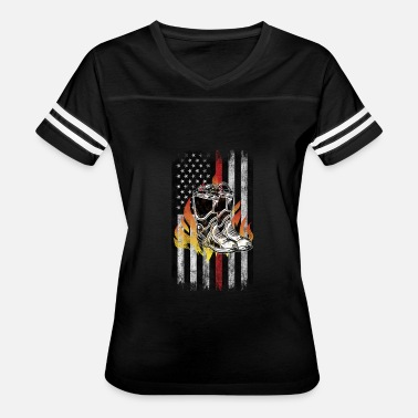 Fighter Fire fighter boots Flames American Flag Thin Red - Women's Vintage Sport T-Shirt