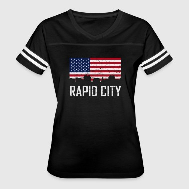 Rapid City South Dakota Skyline American Flag - Women's Vintage Sport T-Shirt