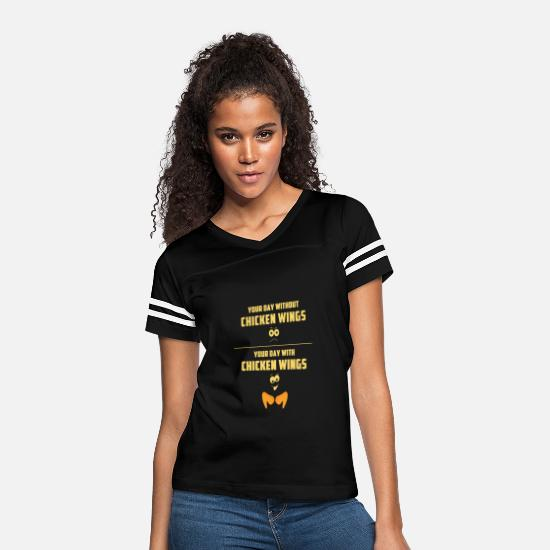 Chicken T-Shirts - WITH CHICKEN WINGS & WITHOUT CHICKEN WINGS - Women's Vintage Sport T-Shirt black/white