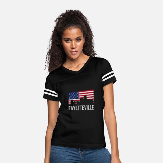 North Carolina T-Shirts - Fayetteville North Carolina Skyline American Flag - Women's Vintage Sport T-Shirt black/white