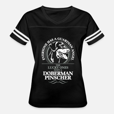 Protected By A Doberman Pinscher GUARDIAN ANGEL DOBERMAN PINSCHER - Women's Vintage Sport T-Shirt