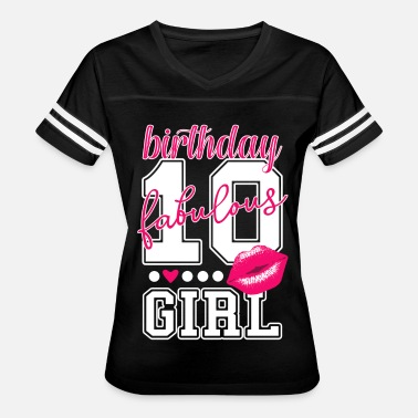 Birthday Girl 10th birthday girl pink kiss college Style number - Women's Vintage Sport T-Shirt