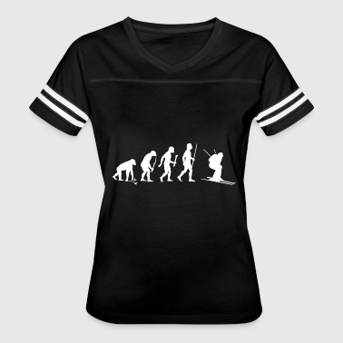 Evolution Of Ski Skiing - Evolution of Man and Skiing - Women's Vintage Sport T-Shirt