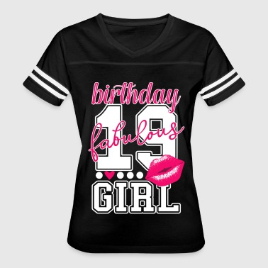 pink Birthday girl 19th bday college Number Kiss - Women's Vintage Sport T-Shirt