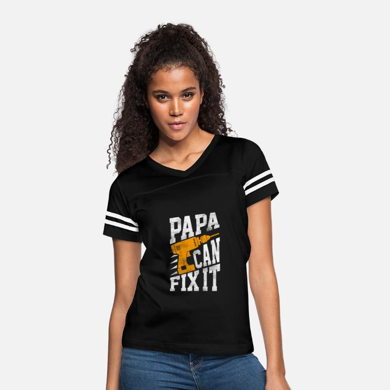 Papa T-Shirts - Papa - Papa - papa can fix it - Women's Vintage Sport T-Shirt black/white