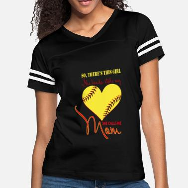 b8fe18f7 I Love Softball She Kinda Stolen My Heart She Calls Me Mom T Shirt - Women&