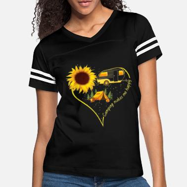 Love Camping Makes Me happy t-shirt Funny Sunflower - Women's Vintage Sport T-Shirt