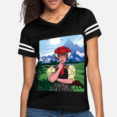 Germany Black Forest traditional costume middle finger Bol - Women's Vintage Sport T-Shirt