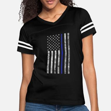 Distressed Thin Blue Line American Flag Support - Women's Vintage Sport T-Shirt