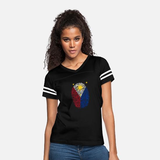 Filipino T-Shirts - Filipino Fingerprint - Women's Vintage Sport T-Shirt black/white