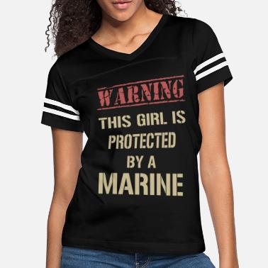 Marine warning this girl is protected by a marine girlfri - Women's Vintage Sport T-Shirt