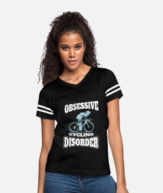 Cycling T-Shirts - Obsessive Cycling Disorder Funny Cyclist OCD - Women's Vintage Sport T-Shirt black/white
