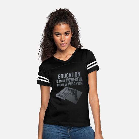Education T-Shirts - Education Is Powerful - Women's Vintage Sport T-Shirt black/white