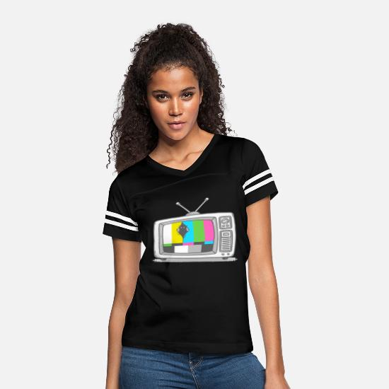 Game T-Shirts - Watching TV - Women's Vintage Sport T-Shirt black/white