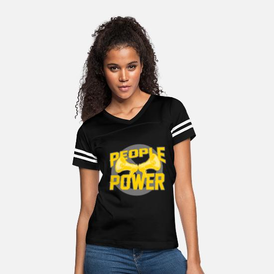 Socialist T-Shirts - people power - Women's Vintage Sport T-Shirt black/white