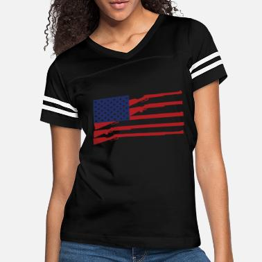 2nd Amendment American Flag Rifle USA - Stars and Stripes 4th - Women's Vintage Sport T-Shirt