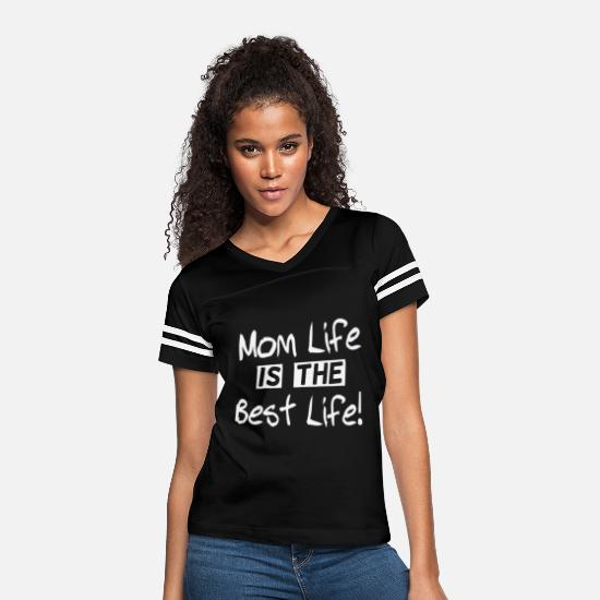 Size T-Shirts - Funny Letter Print MOM LIFE IS THE BEST LIFE Mom - Women's Vintage Sport T-Shirt black/white