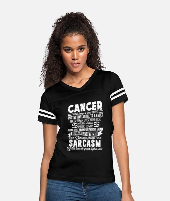 Zodiac Cancer T-Shirts - Cancer Zodiac Shirt - Women's Vintage Sport T-Shirt black/white