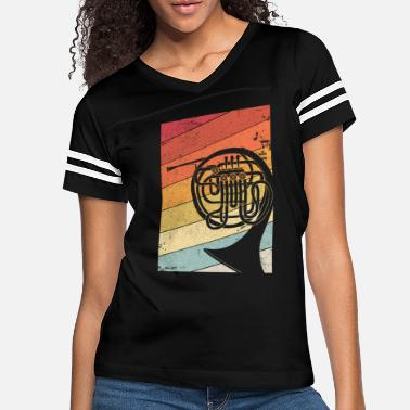 Country French Horn Graphic. Retro Style Brass Band Design - Women's Vintage Sport T-Shirt