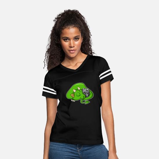 Cute T-Shirts - D20 Green Dragon - Women's Vintage Sport T-Shirt black/white