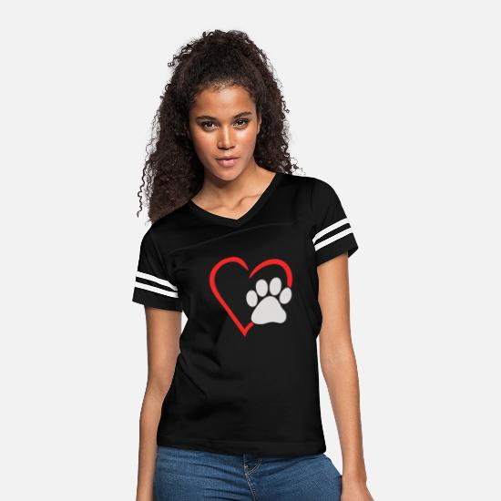 Animal Lover T-Shirts - Animal Lover Dog Paw - Women's Vintage Sport T-Shirt black/white