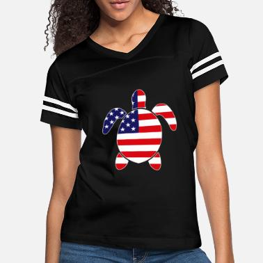 Soldier Patriotic SEA TURTLE American Flag Embroidery - Women's Vintage Sport T-Shirt