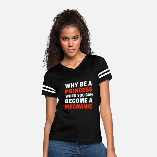 Boyfriend T-Shirts - Why Be A Princess, Become A Mechanic - Women's Vintage Sport T-Shirt black/white