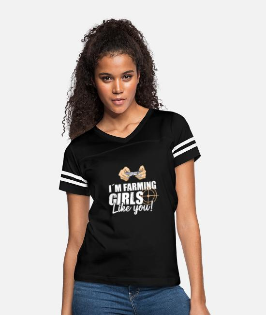 Game T-Shirts - I´m Farming Girls Like You! For Laptop And Game - Women's Vintage Sport T-Shirt black/white