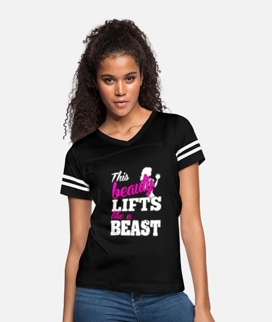 Anytime T-Shirts - Fitness - This beauty lifts like a beast t-shirt - Women's Vintage Sport T-Shirt black/white
