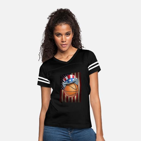 United States T-Shirts - Basketball US Flag on 4th Of July - Women's Vintage Sport T-Shirt black/white
