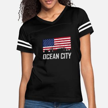 City Ocean City Maryland Skyline American Flag - Women's Vintage Sport T-Shirt