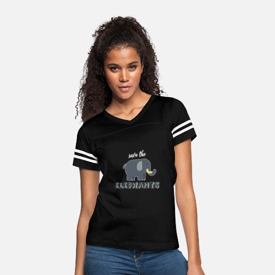 Girlfriend T-Shirts - Elephant Giant Boar Big Forest Mammal Animal Gift - Women's Vintage Sport T-Shirt black/white