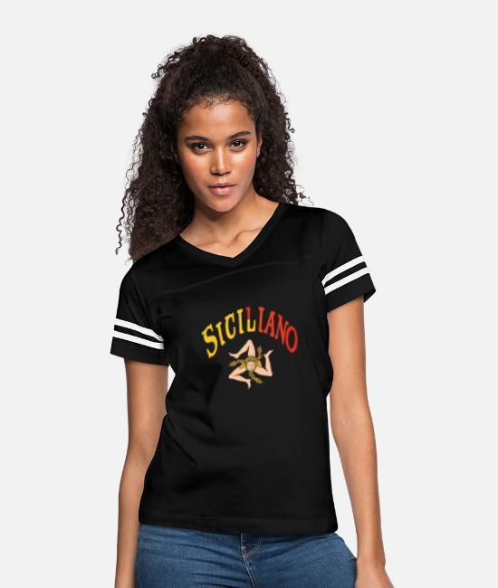 Sicilia Pride Printed Long Sleeve 100/% Cotton Tee Shirt Teenagers Teen Girl Sicilian Trinacria