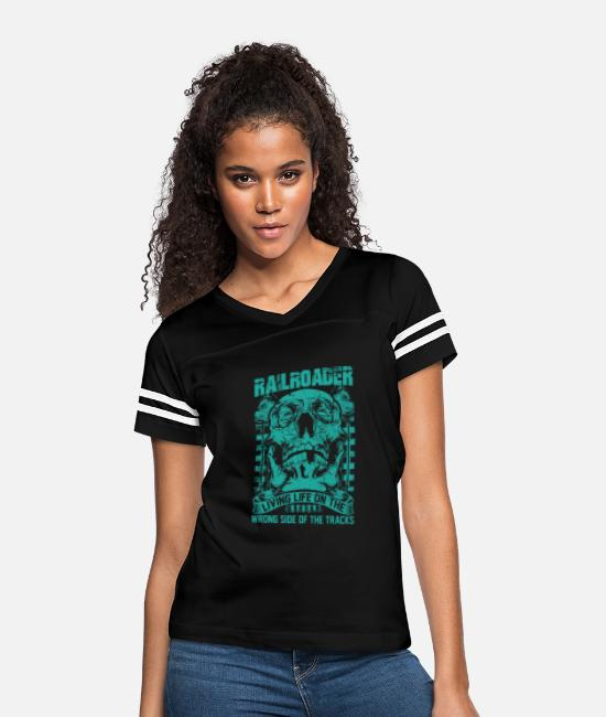 Station T-Shirts - Railroader Living life on the wrong side Railroad - Women's Vintage Sport T-Shirt black/white