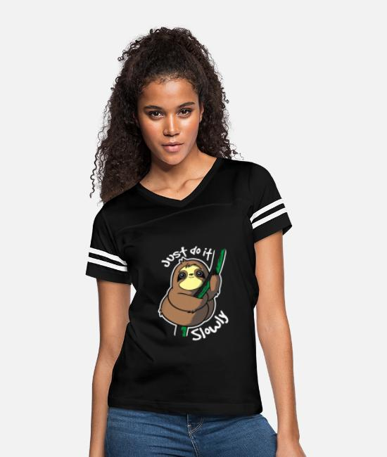 Music T-Shirts - Slow Sloth - Women's Vintage Sport T-Shirt black/white