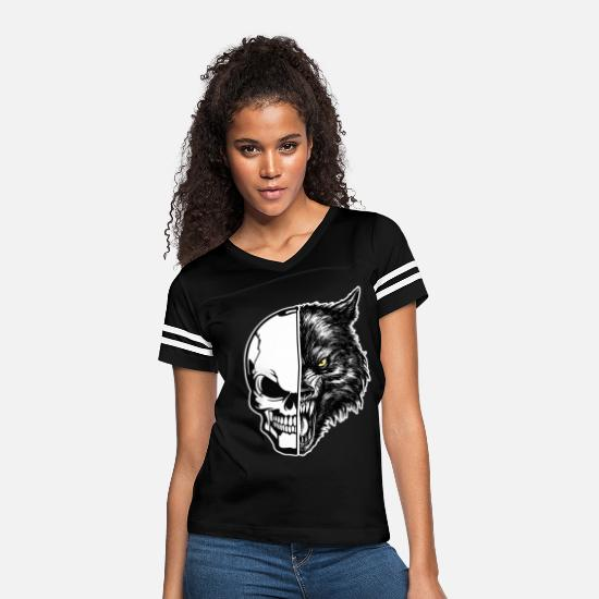 Bride T-Shirts - skull and wolf - Women's Vintage Sport T-Shirt black/white