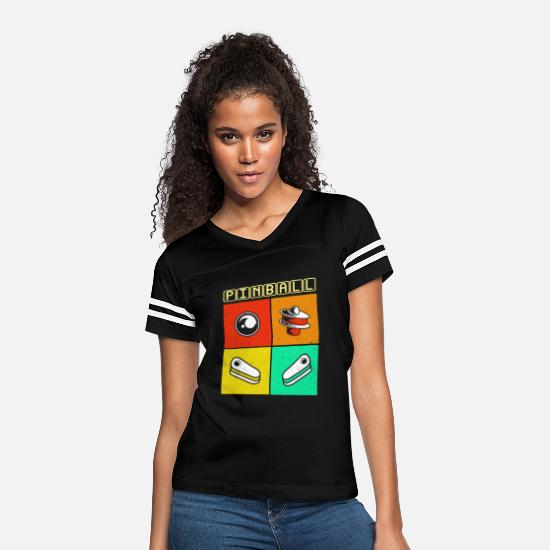Game T-Shirts - Pinball - Women's Vintage Sport T-Shirt black/white