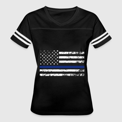 Black Support The Police Distressed Thin Blue Line - Women's Vintage Sport T-Shirt