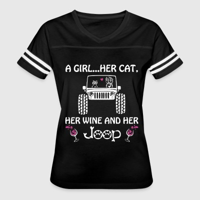 A girl her cat her wine and her jeep - Women's Vintage Sport T-Shirt