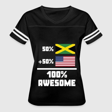 50% Jamaican 50% American 100% Awesome Funny Flag - Women's Vintage Sport T-Shirt