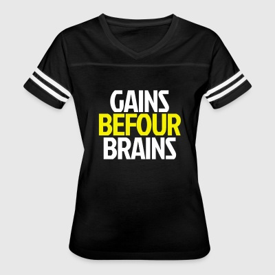 Gains Before Brains (Yellow) - Women's Vintage Sport T-Shirt