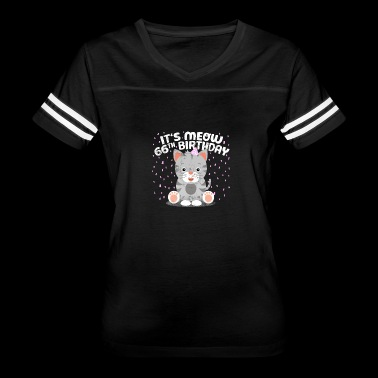 Kitty Cat Kitten Meow 66th Birthday Boy Girl Gift - Women's Vintage Sport T-Shirt