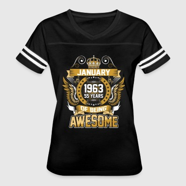 January 1963 55 Years Of Being Awesome - Women's Vintage Sport T-Shirt