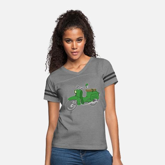 Motor T-Shirts - Schwalbe, scooter from GDR (green) - Women's Vintage Sport T-Shirt heather gray/charcoal