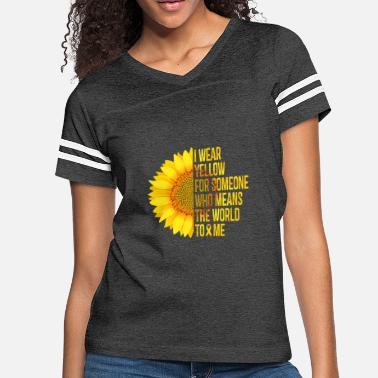 9e3a371c560 Childhood Cancer Awareness I Wear Yellow - Yellow Sunflower Awareness Ribbon  - Women'. Women's Vintage Sport T-Shirt