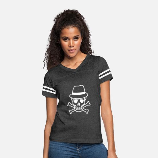Symbol  T-Shirts - Skull And Hat - Women's Vintage Sport T-Shirt vintage smoke/white