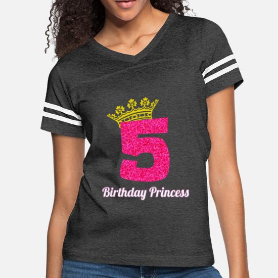 aec231ce0edd Women's Vintage Sport T-Shirt5th Birthday Design for Girl Princess Crown Pink  Glitter