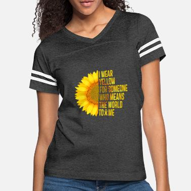 Childhood Cancer Awareness I Wear Yellow - Yellow Sunflower Awareness Ribbon - Women's Vintage Sport T-Shirt