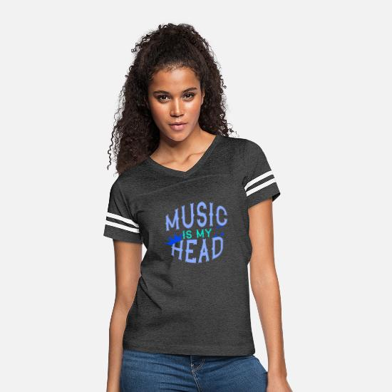 Love T-Shirts - MUSIC IS MY HEAD Music Gift - Women's Vintage Sport T-Shirt vintage smoke/white