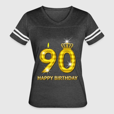90 - Happy Birthday - Golden Number - Women's Vintage Sport T-Shirt